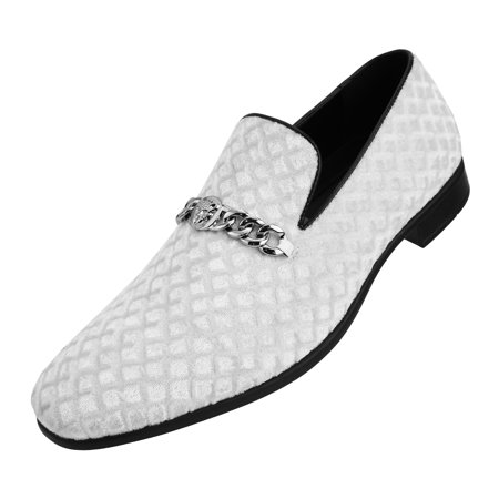 Amali Men's Diamond Quilted Embossed Faux Velvet Slip On Loafer with Metal Chain Exotic Bit Dress Shoe, Style Felix