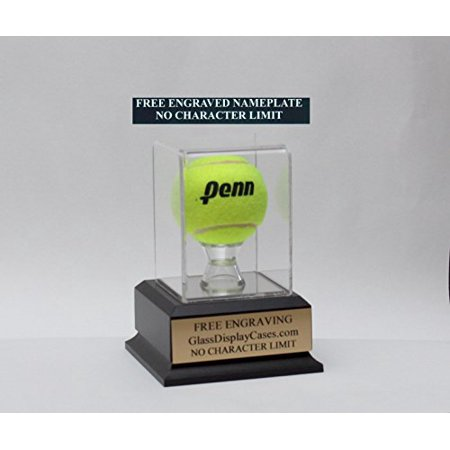 - Tennis Ball Personalized Acrylic Display Case with Black Finish Wood Platform Base & Free Engraving