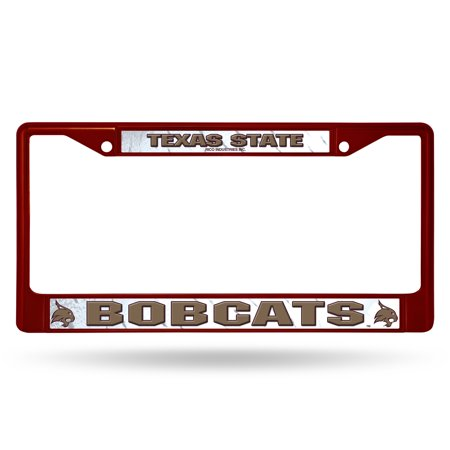 Polished Chrome License Plate Frame (Texas State Bobcats NCAA Maroon Painted Chrome Metal License Plate Frame)