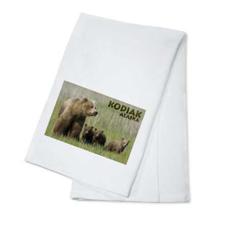 - Grizzly Bear and Cubs - Alaska - Lantern Press Photography (James T. Jones) (100% Cotton Kitchen Towel)