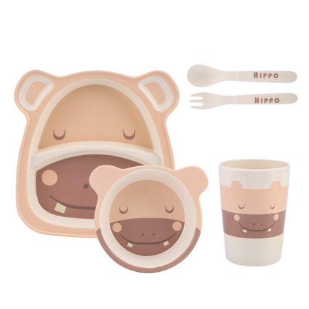5Pcs Bamboo Fiber Cartoon Tableware Dishes Bowl Cup Plates Sets for Infant Baby Kids, Kids Tableware Set, Baby Feeding Set (Bamboo Dish Set)