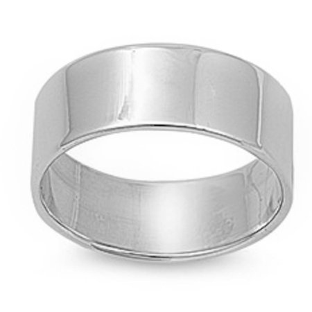 Flat Plain Solid Wedding Band 10MM .925 Sterling Silver Ring Sizes 5-12