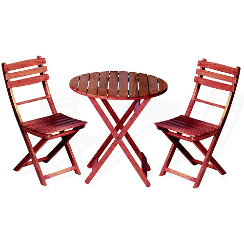 Wooden 3-Piece Bistro Set with Folding Chairs