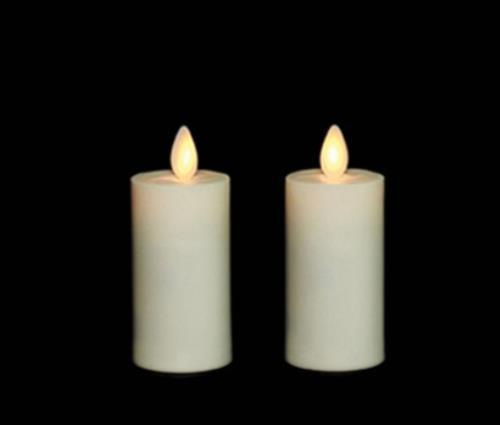 Wax 3.5 Inch Moving Flame Votive Candles Set of 2 - Remot...