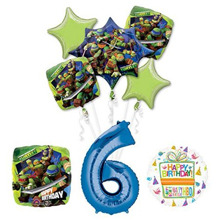 Ninja Turtle Birthday Party Supplies (Teenage Mutant Ninja Turtles 6th Birthday Party Supplies and TMNT Balloon Bouquet Decorations )