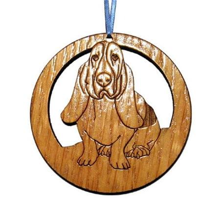CAMIC designs DOG017N Laser-Etched Bassett Hound Dog Ornaments - Set of -
