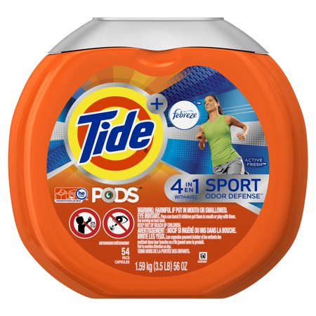 Tide Pods Plus Febreze Sport Odor Defense Laundry Pacs  Active Fresh Scent  54 Count  Designed For Regular And He Washers