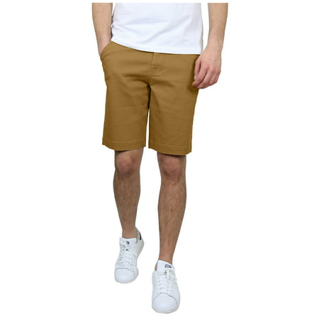 Men's 5-Pocket Flat-Front Stretch Chino Shorts (Size 30-42) - Front Blended Chino Shorts