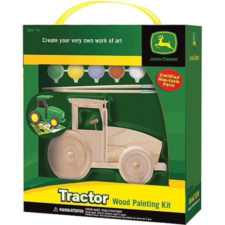 Masterpieces wood paint kit john deere tractor for Walmart arts and crafts paint