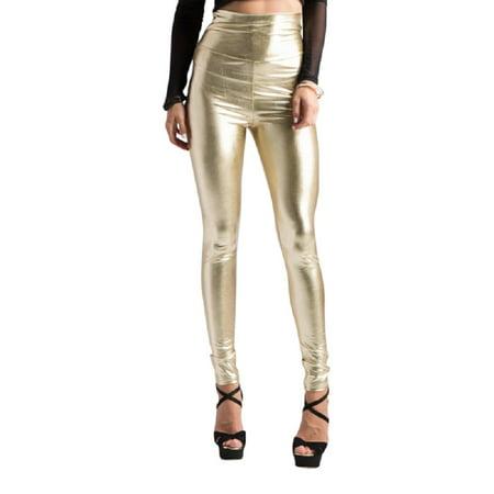 6b2005441fe5c 2Chique Boutique - 2Chique Boutique Women's Gold High Waist Faux Leather  Leggings - Walmart.com