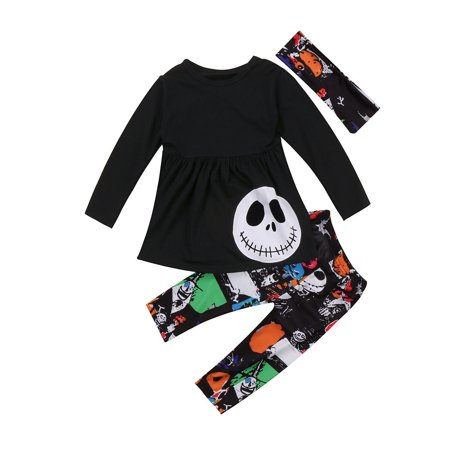 Halloween Outfits Homemade (3pcs Halloween Baby Kids Girls Outfits Headband T-shirt Tops Pants Clothes)