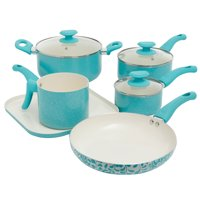 Oster Cocina San Jacinto 9 Piece Cookware Set in Turquoise Speckle