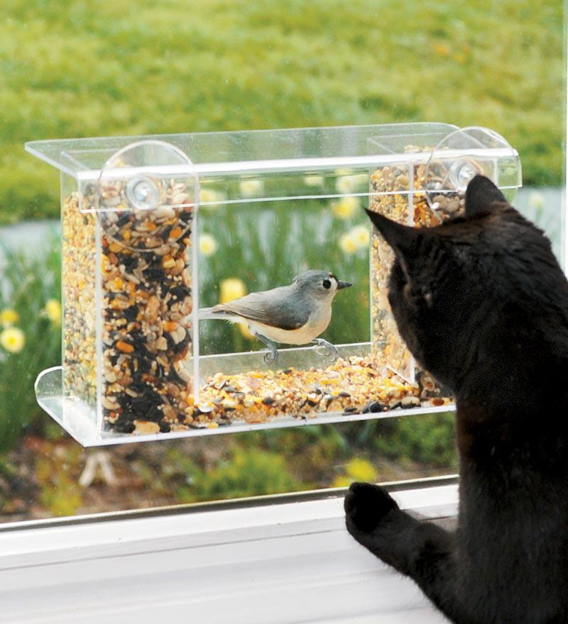 Window-Mount See-Through Clear Plastic Birdfeeder by Plow & Hearth