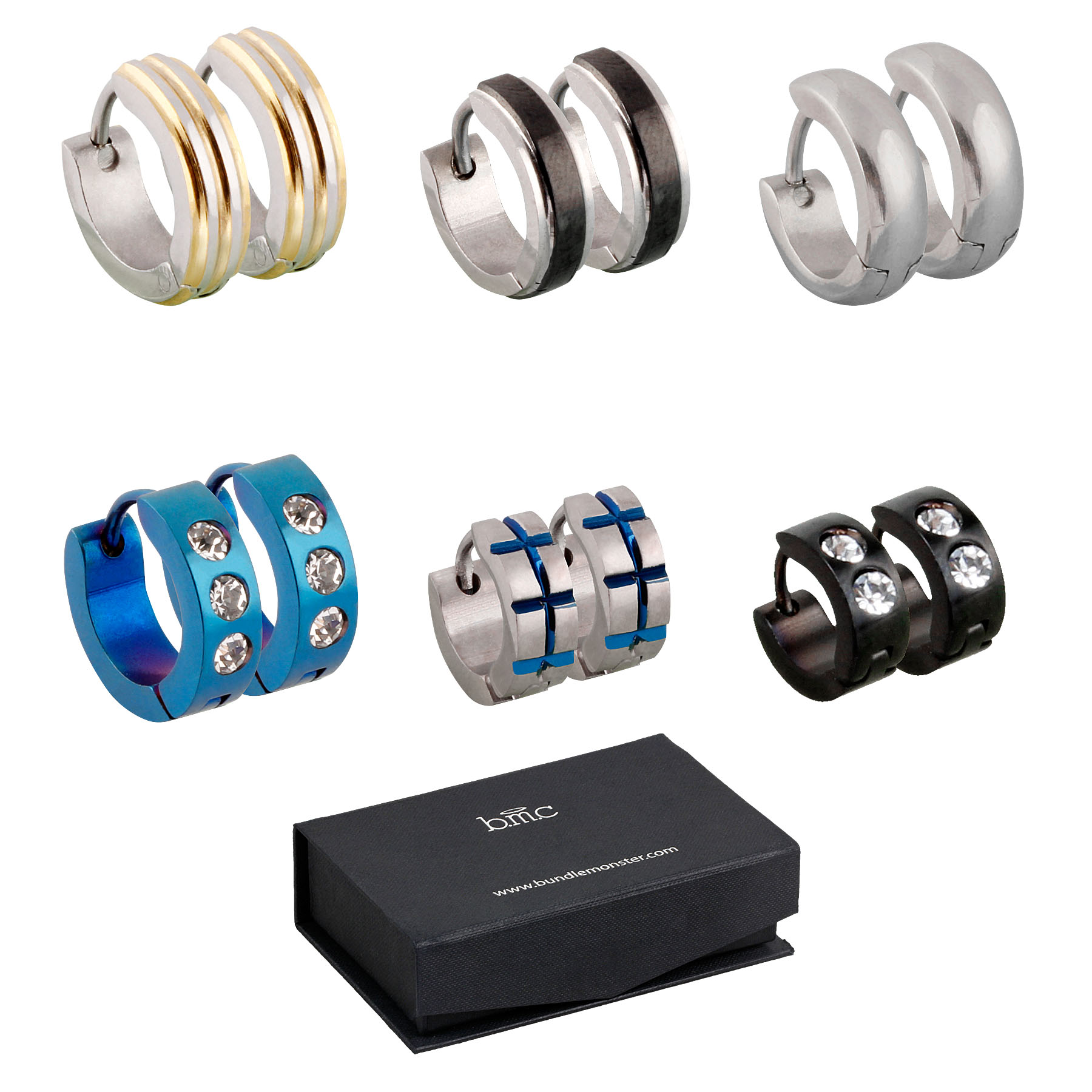 BMC 6pc Mens Stainless Steel Fashionable Multicolor 4mm Luxury Hoop Earrings Lot