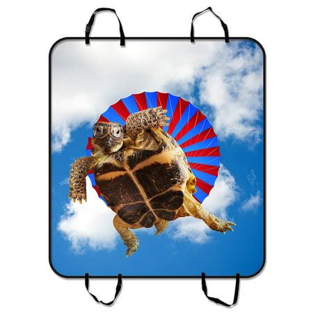 YKCG Funny Cute Animal Flying Sea Turtle Blue Sky Pet Seat Cover Car