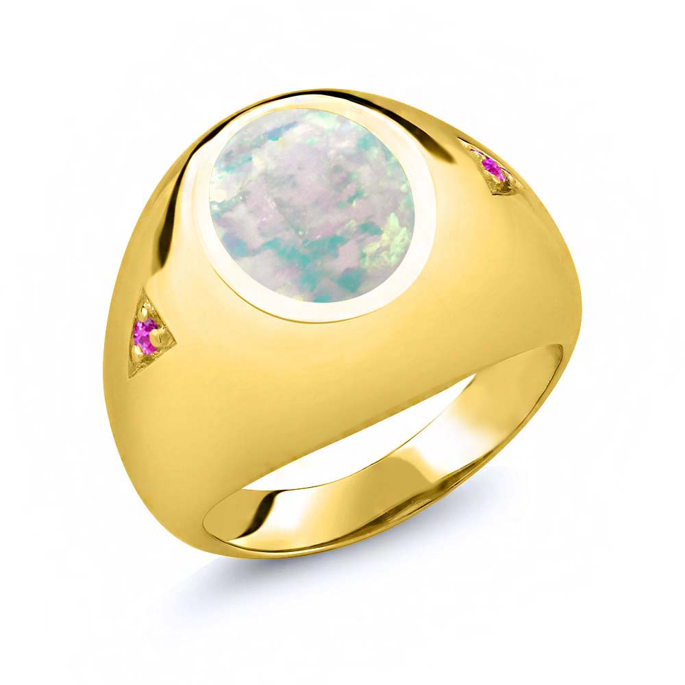 4.10 Ct Oval White Simulated Opal Pink Sapphire 14K Yellow Gold Men's Ring by