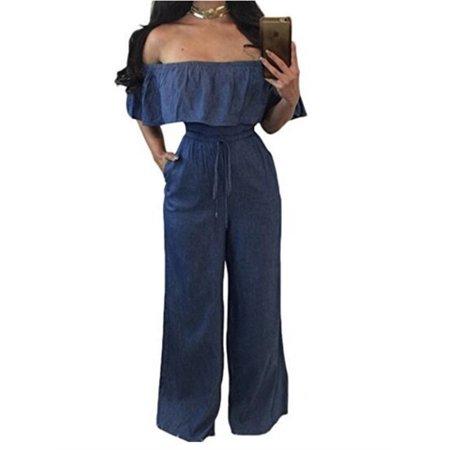 Cold Shoulder Denim Jumpsuit Women Casual Solid Long Rompers Bodysuit - Romper Adult