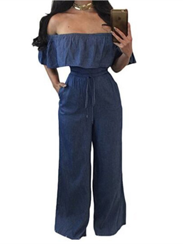 Cold Shoulder Denim Jumpsuit Women Casual Solid Long Rompers Bodysuit