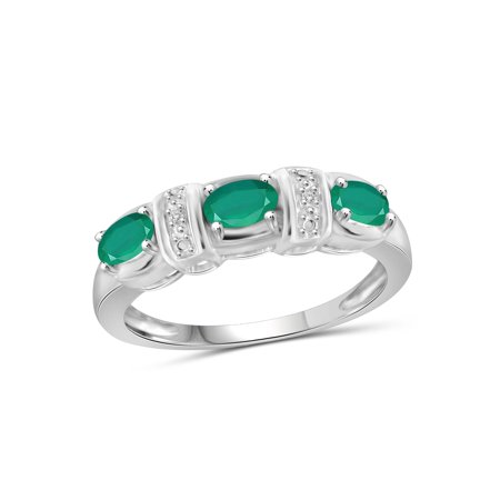 JewelersClub 1/2 CT Emerald & Wh Dia Accent 14k Gold Over Silver Ring Diva Sterling Silver Ring