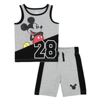 Mickey Mouse Graphic Muscle Tank & Drawstring French Terry Short, 2pc Outfit Set (Toddler Boys)