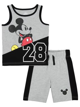 728842b6 Product Image Mickey Mouse Graphic Muscle Tank & Drawstring French Terry  Short, 2pc Outfit Set (Toddler