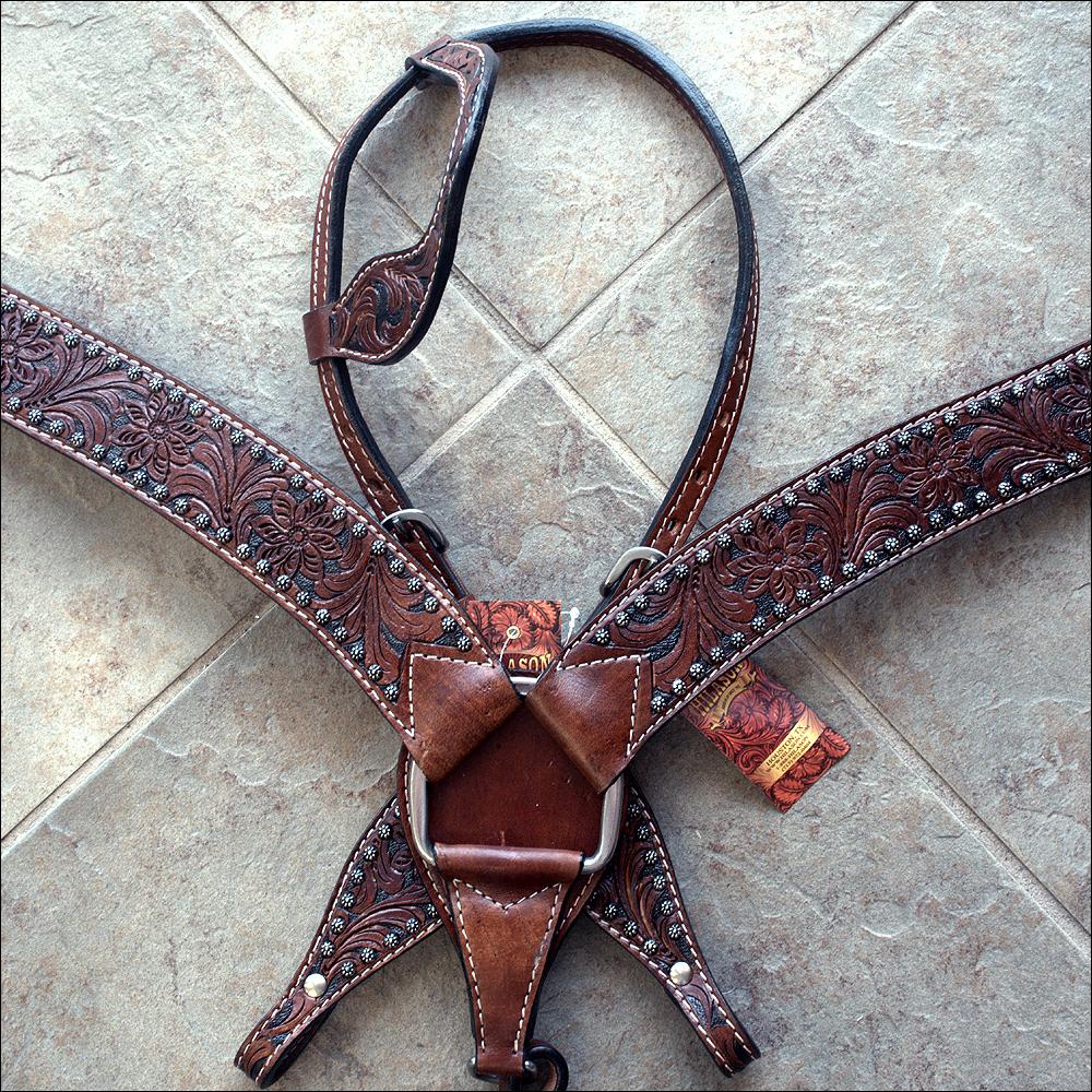 U--SET HILASON WESTERN AMERICAN LEATHER HORSE HEADSTALL BREAST COLLAR DARK BROWN