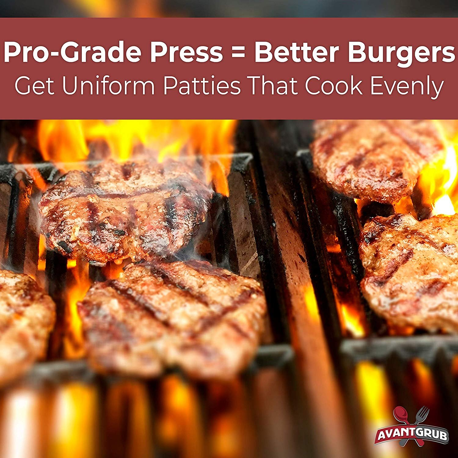 Avant Grub Grill Presses and Irons Great for .25 Lb Ground Beef or Chop Steak Patties Cast Aluminum 4.5 Hamburger Maker with 1000 Pk 4.75 x 5 Nonstick Wax Butcher Squares Restaurant-Grade Burger Press and Patty Paper Combo Set