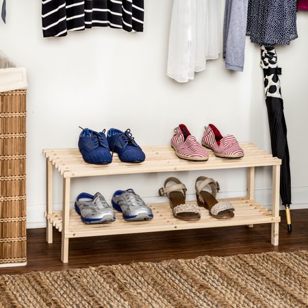Honey Can Do 2-Tier Unfinished Natural Wood Shoe Rack Holland Wooden Shoe