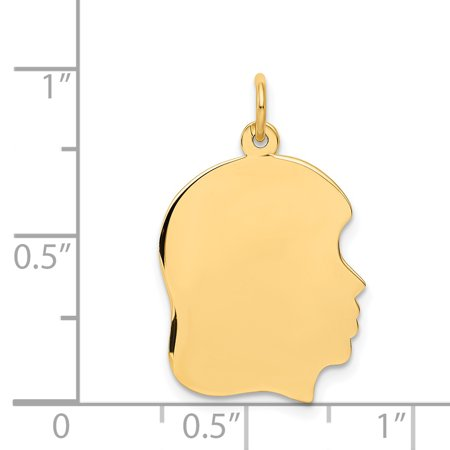 10k Yellow Gold Medium .018 Gauge Facing Right Engravable Girl Head Pendant Charm Necklace Disc Boy Fine Jewelry Gifts For Women For Her - image 1 de 6