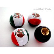 SmallAutoParts Mexico Flag Ball Tire Valve Stem Caps - Set Of 4