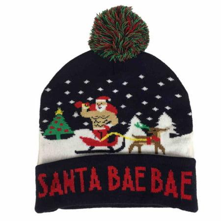 b5dfa47b4abd9 Mens Light Up Navy Blue Santa Bae Bae Beanie Christmas Holiday Stocking Cap  Hat - Walmart.com