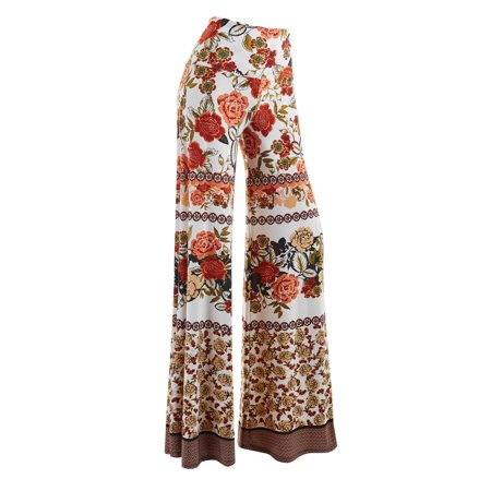 MBJ WB1194 Womens Polka Dot Wide Leg Palazzo Pants XL RUST_IVORY (Xl Sniper Ghillie Pants)