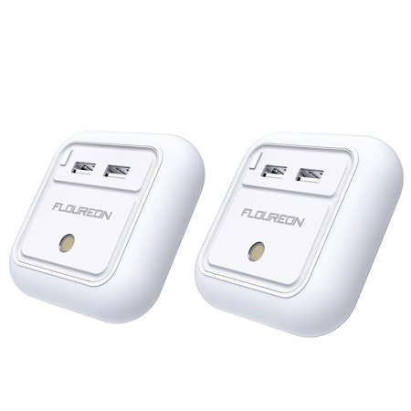FLOUREON 2 Pack USB Wall Charger, 12W 2.4A Dual USB Phone ipad Charger with Warm White LED Night Light with Dusk to Dawn Sensor for Bedroom Bathroom Study Office
