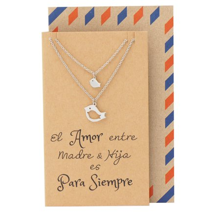Mother Daughter Necklace, Spanish Inspirational Greeting Card, Gifts for Mom, Necklaces for Women, Mothers Day Gift, Bird Necklace Set of