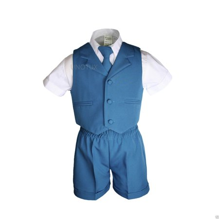 Boys Baby Toddler Formal Wedding Teal Turquoise Aqua Vest Sets Shorts Suits S-4T - image 4 of 6