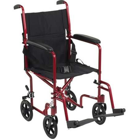 Drive Medical Lightweight Transport Wheelchair  19  Seat  Red