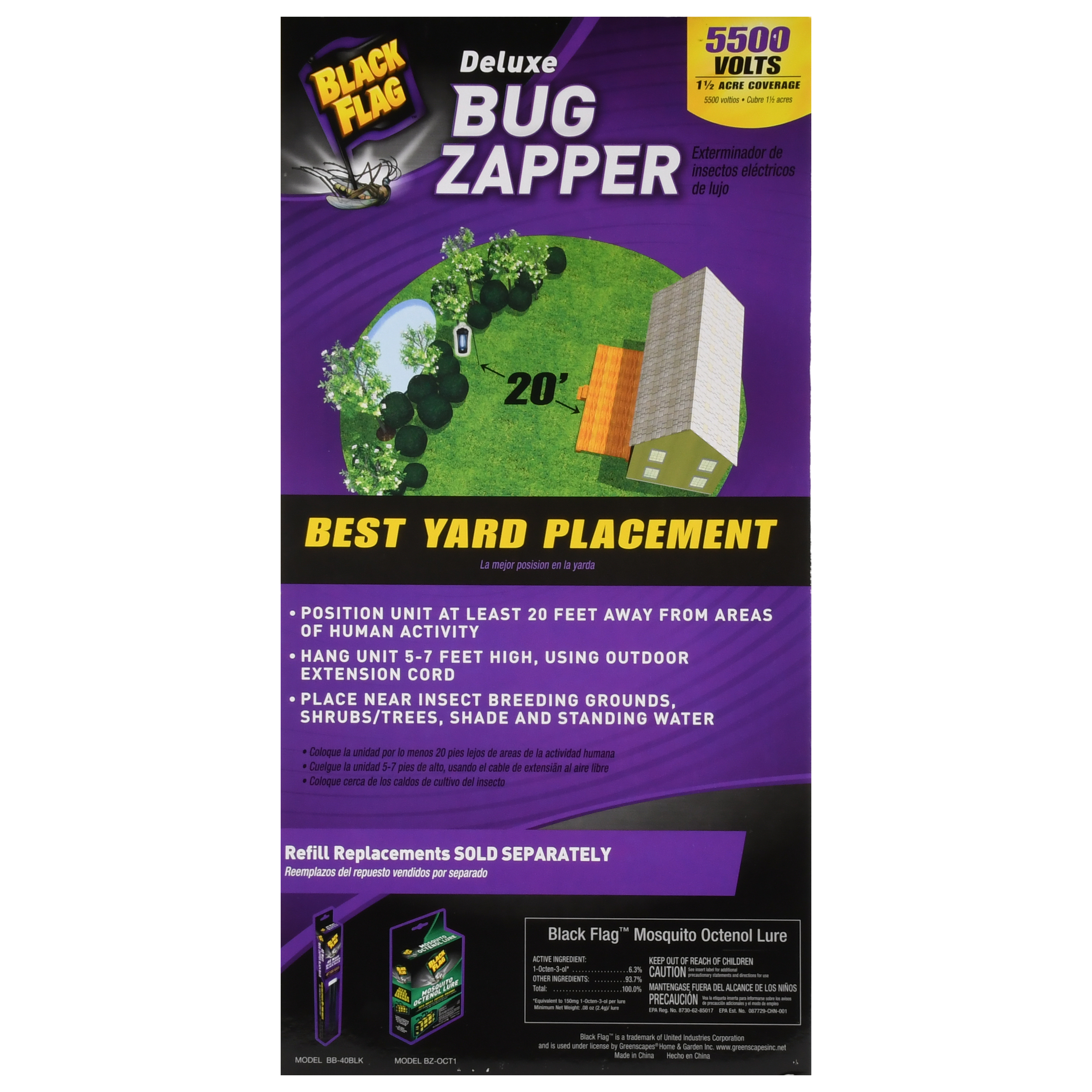 Black Flag 5500 Volt Deluxe Bug Zapper 15 Acre Coverage Mosquito Killer Circuit Is Composed Of The Energy Saving Lamp
