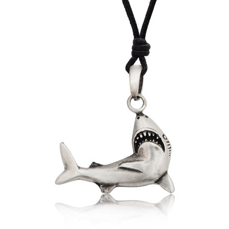 Shark Great White Silver Pewter Charm Necklace Pendant Jewelry With Cotton Cord