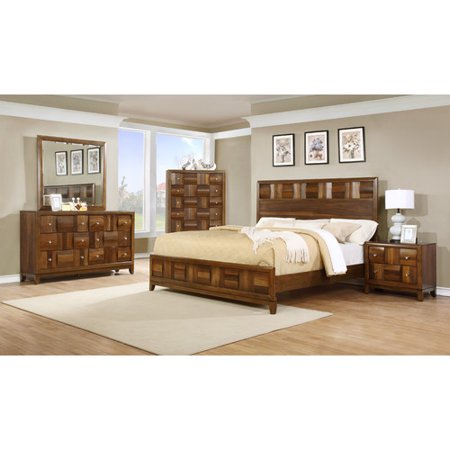 Roundhill Furniture Calais Panel 5 Piece Bedroom Set
