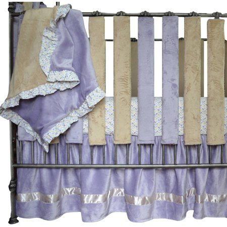 Go Mama Go Designs Luxurious Oversized Lavender Minky Blanket with Adorable Love Petals Print Ruffle - Lavender Petals