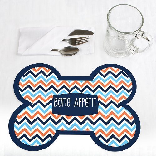 Chevron Boy Bruffday Bone Shaped Dog Party Placemats Set of 12 by When Pooch Comes to Shove
