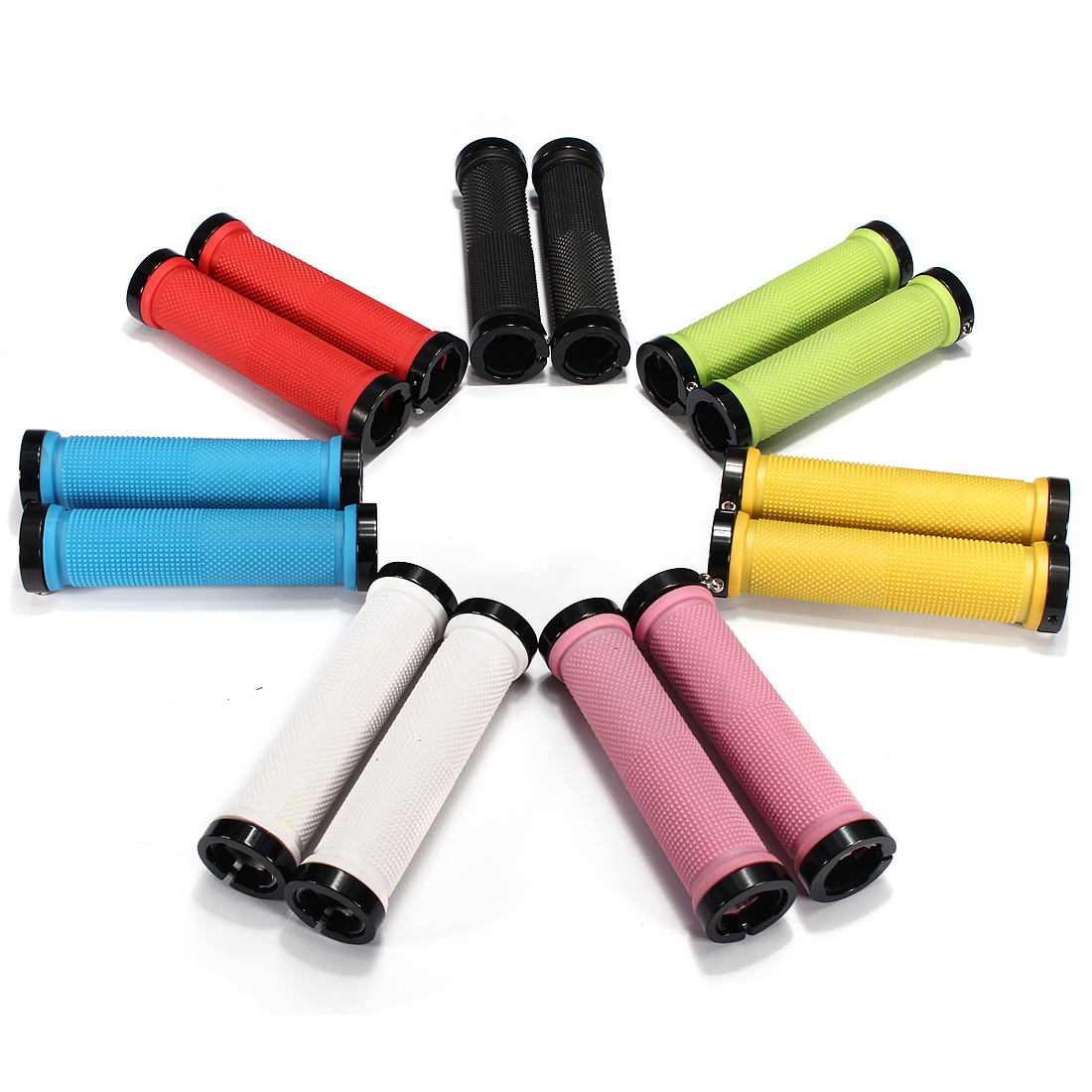 1 Pair Cycling MTB BMX Bicycle Lock-on Rubber Handlebar Handle Grip End Anti-Slip