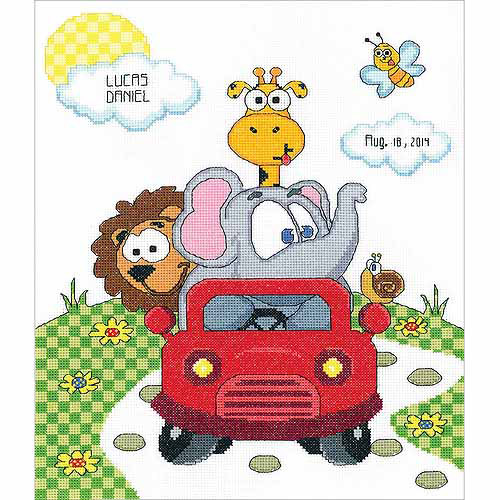 "Animal Fun Ride Birth Record Counted Cross Stitch Kit, 11"" x 14"", 14 Count"