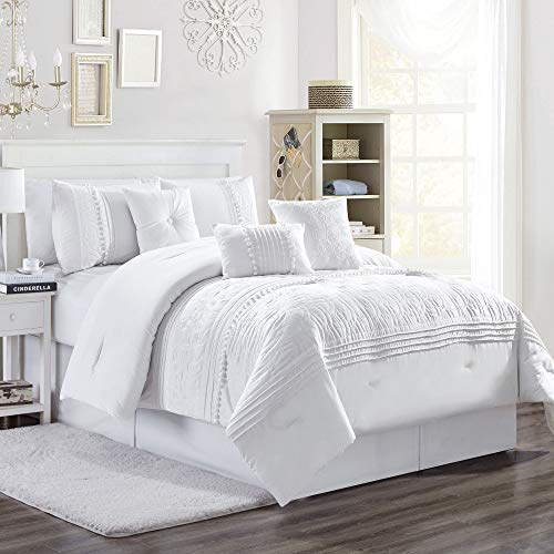 Chezmoi Collection Grace 7-Piece White Floral Chenille Embroidered Pleated Striped Comforter Set