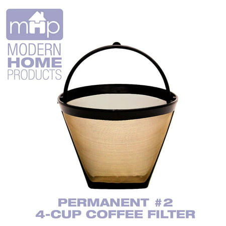 Permanent #2 4-Cup Cone Shape Gold Tone Coffee Filter fits Mr. Coffee & Cuisinart 4-Cup Coffeemakers