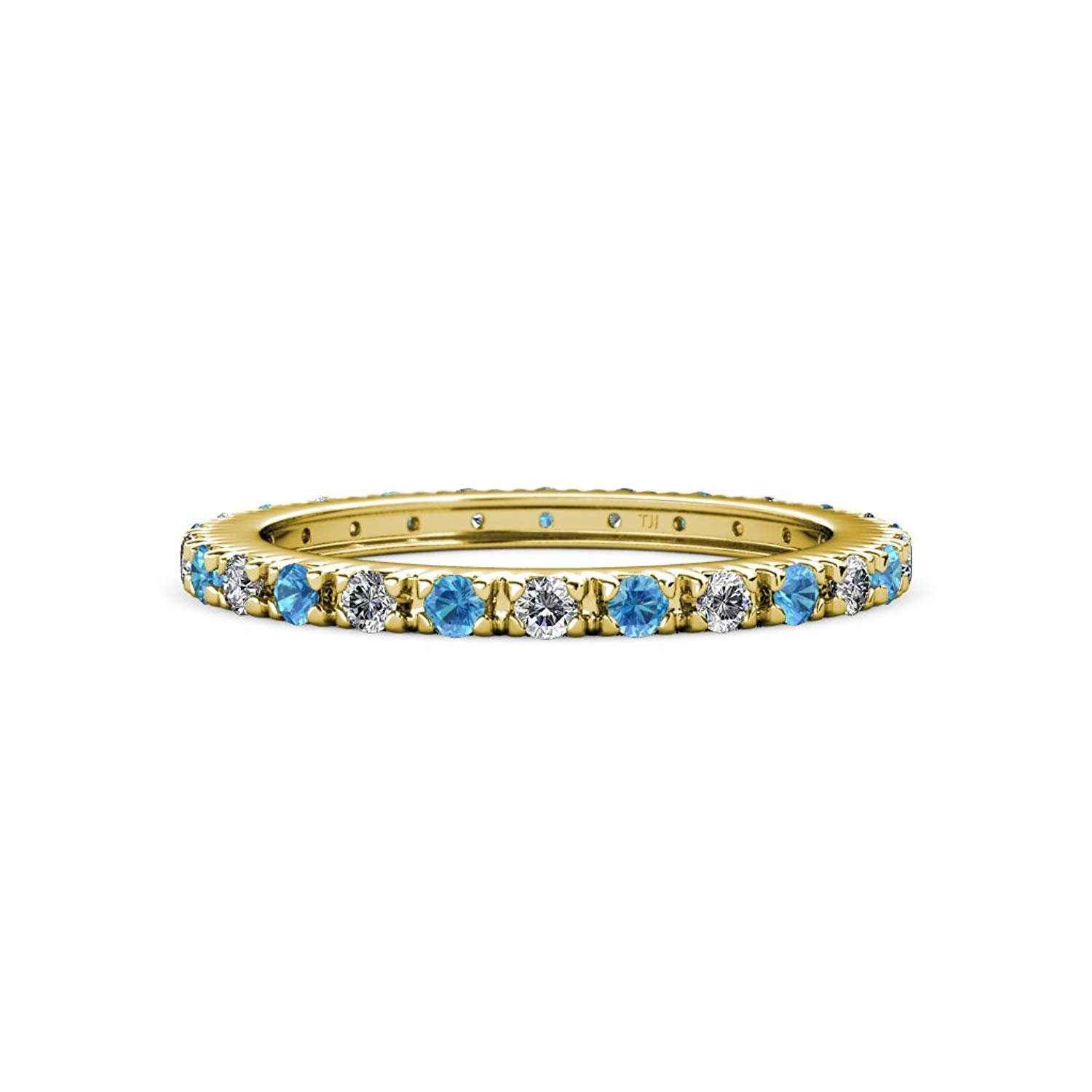 Blue Topaz and Diamond French Set Eternity Band 0.75 ct tw to 0.91 ct tw in 14K Yellow Gold.size 7.5 by TriJewels