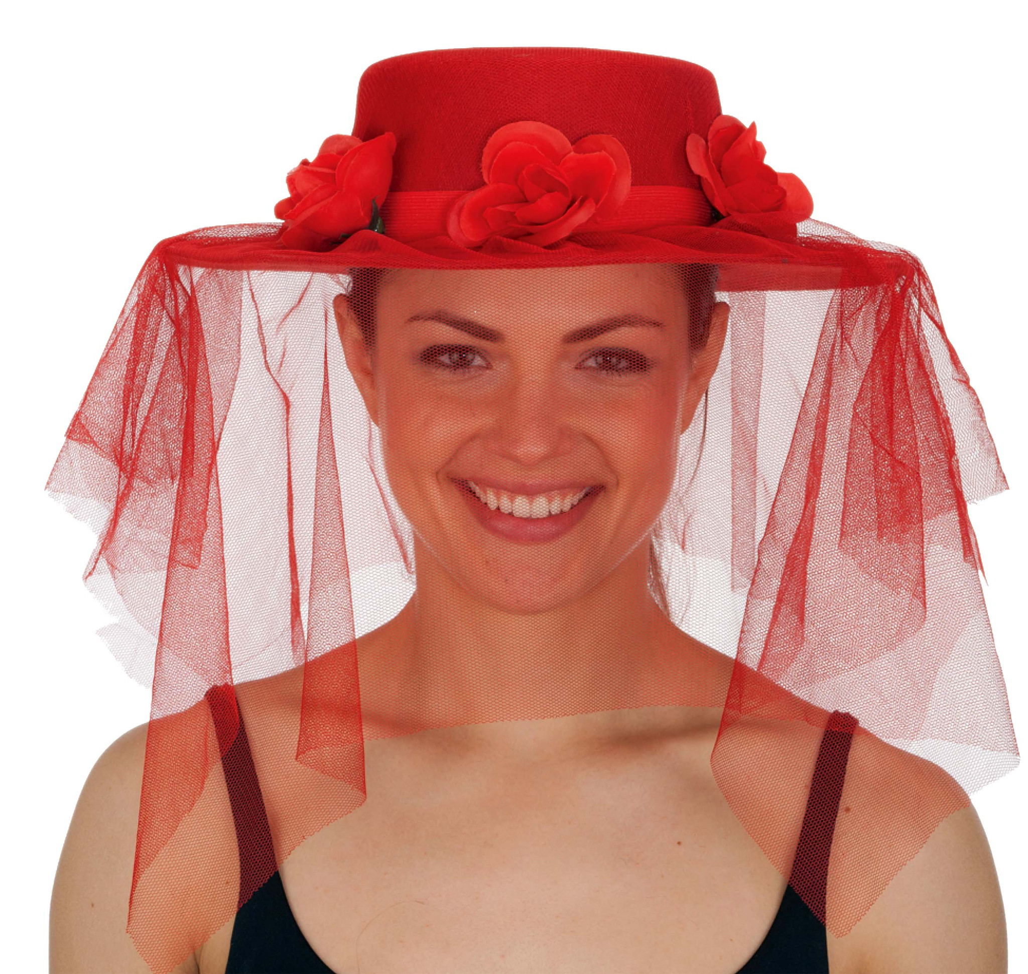Red Spanish Lady Hat with Veil