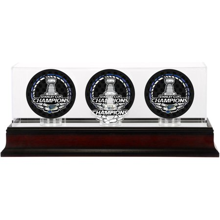 St. Louis Blues 2019 Stanley Cup Champions Mahogany Three Hockey Puck Logo Display