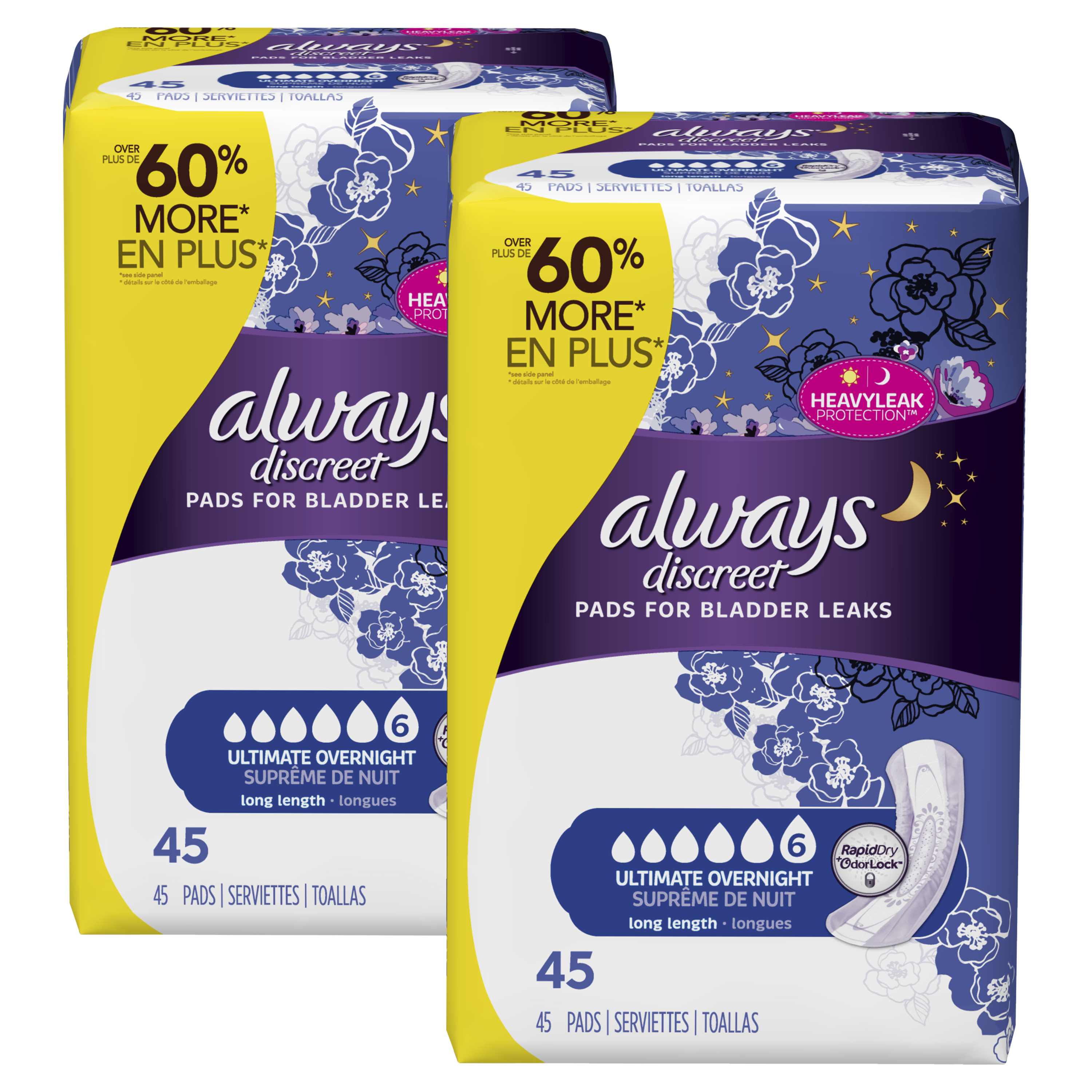 Always Discreet, Incontinence Pads, Ultimate Overnight, Long Length (Choose Count)