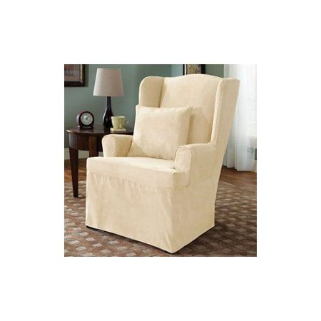 sure fit slipcovers soft suede wing chair slipcover